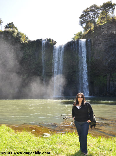 Ange at Whangarei Falls in New Zealand