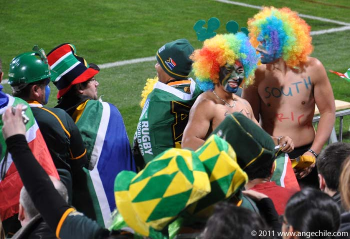 Hinchas de Sudáfrica durante el partido contra Namibia