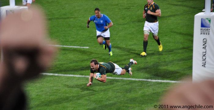 Un Try de Sudáfrica contra Namibia en la Copa Mundial de Rugby 2011