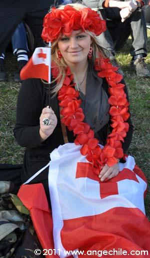 Una hincha de tonga durante un partido del mundial de Rugby en Whangarei